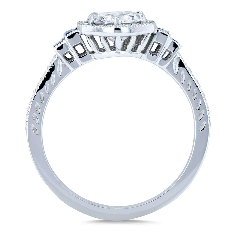 Kobelli Diamond and Sapphire 6-prong Halo Art Deco Ring 1 1/2 CTW 14k White Gold