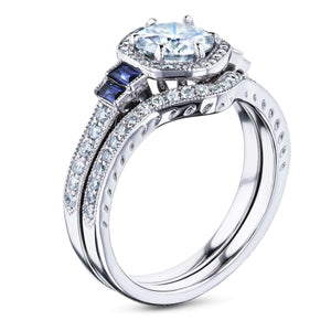 Hexagon Halo Sapphire and Diamond Bridal Set 14k Gold (1 3/4 CTW)