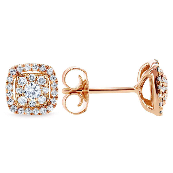 Kobelli White Diamond Halo Stud Earrings 1/3 CTW 14k Rose Gold 62454-R