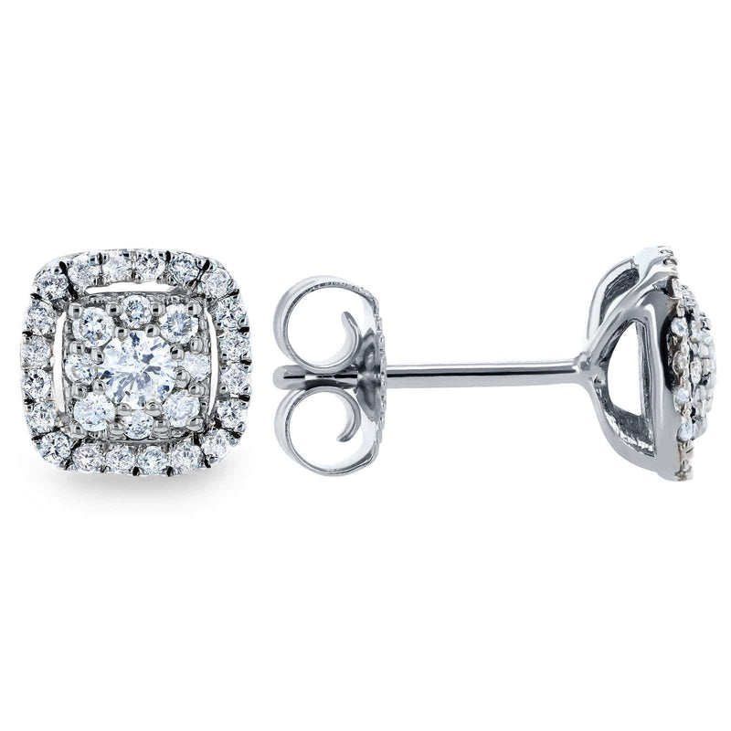 Kobelli White Diamond Halo Stud Earrings 1/3 CTW 14k White Gold 62454-W
