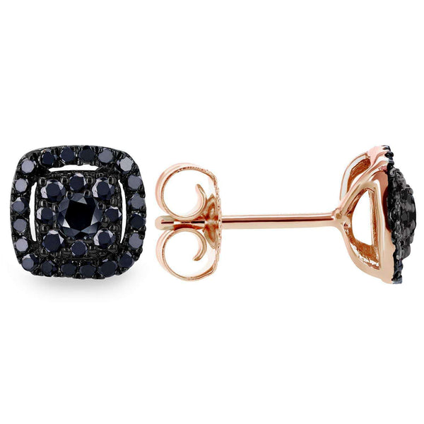 Kobelli Black Diamond Halo Stud Earrings 1/3 CTW 14k Black and Rose Gold 62454BKBK-R