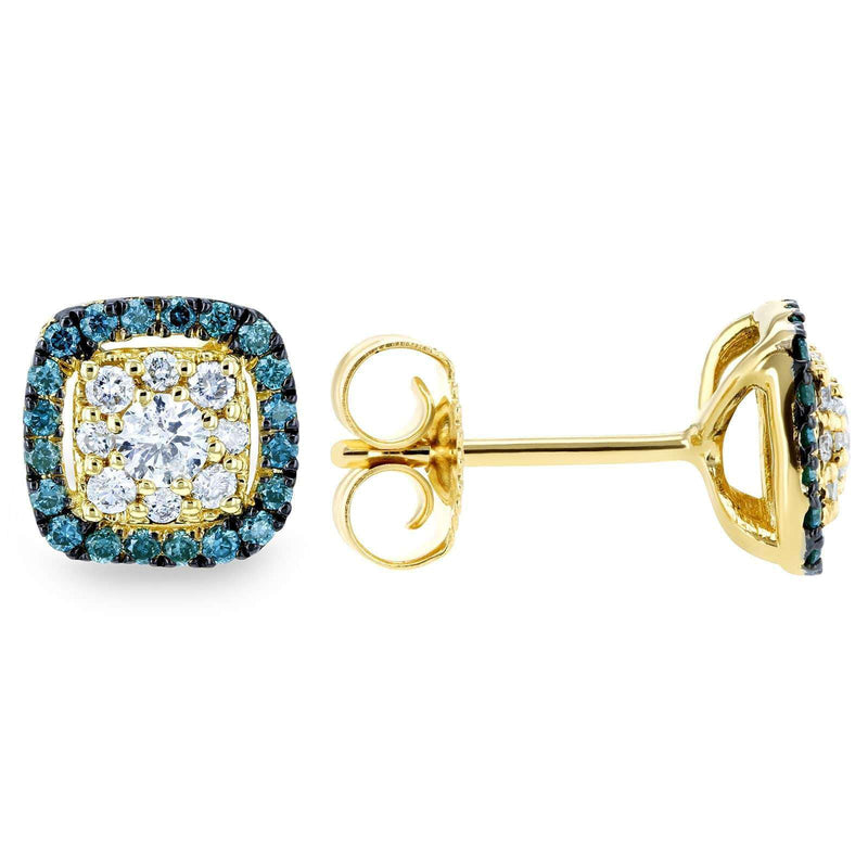 Kobelli White and Blue Diamond Halo Stud Earrings 1/3 CTW 14k Yellow Gold 62454TRBL-Y