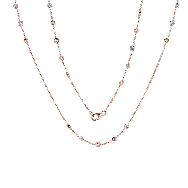Kobelli Diamond 42 Inch Station Necklace 2 CTW 14k Rose Gold 62456-R