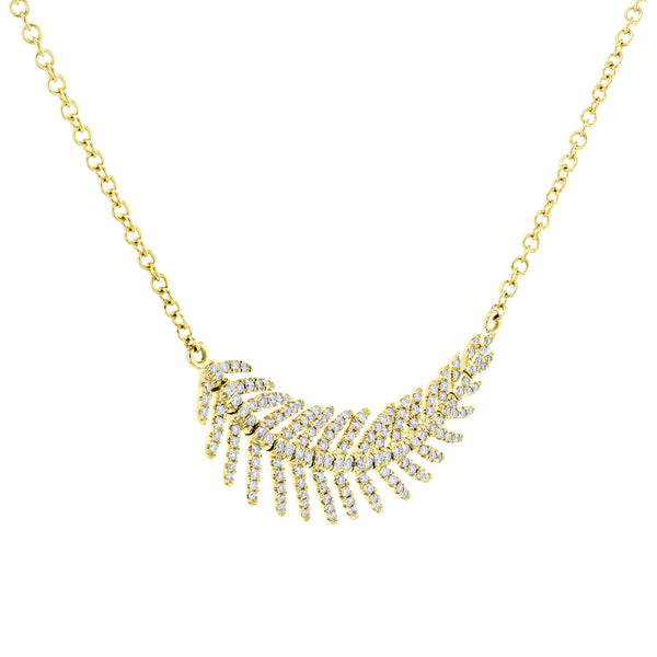Diamond Feather Necklace 2/5 CTW 14k Gold