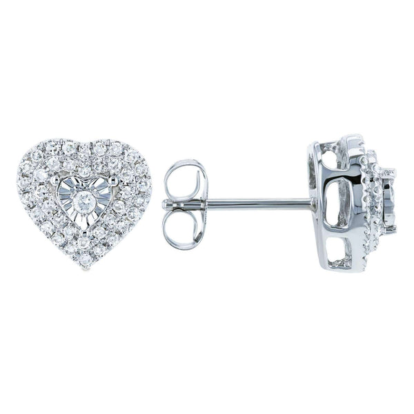 Kobelli Cluster Diamond Heart Stud Earrings 1/4 CTW 10k White Gold 62459