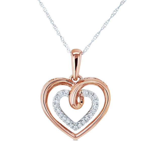 Kobelli Two Tone Diamond and Gold Hearts Necklace 1/10 CTW 10k Gold 18in 62460