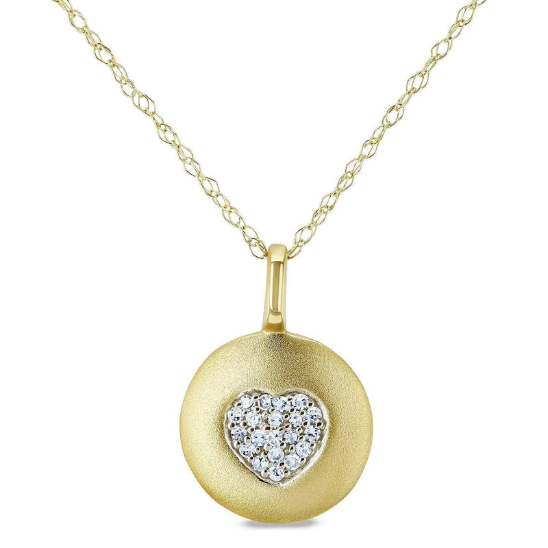 Kobelli Diamond Accented Heart Tag Necklace, 10k Yellow Gold, 18in 62461