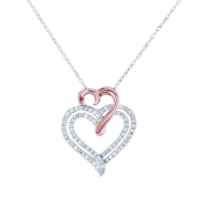 Kobelli Two Tone Diamond and Gold Hearts Necklace 1/5 CTW 10k Gold 18in 62463-WR