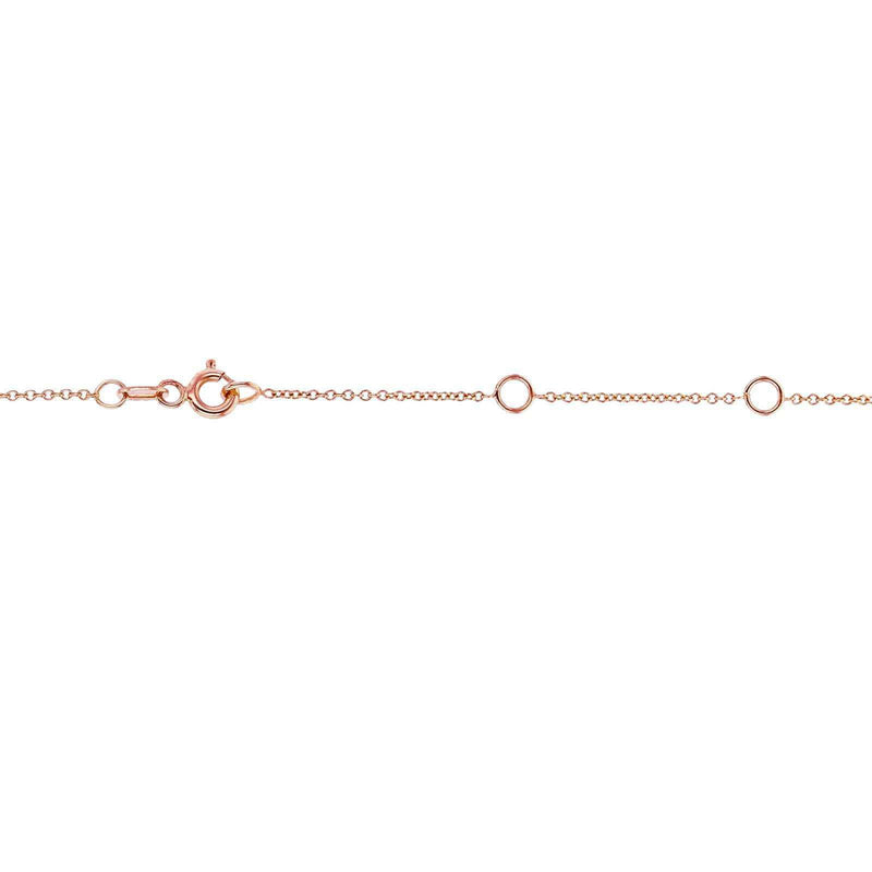 Kobelli White Diamond Bezel Necklace 1/6 Carat, 14k Rose Gold, Adjustable 13 14 15 Inch 62464R-R