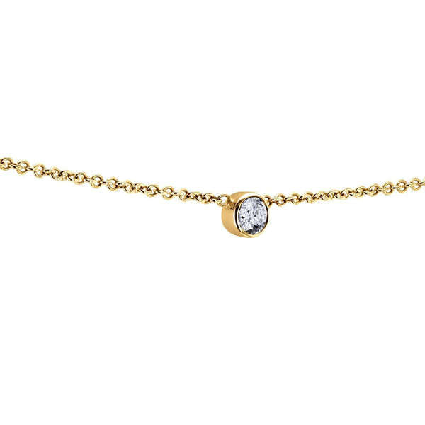 Kobelli White Diamond Bezel Necklace 1/6 Carat, 14k Yellow Gold, Adjustable 13 14 15 Inch 62464R-Y