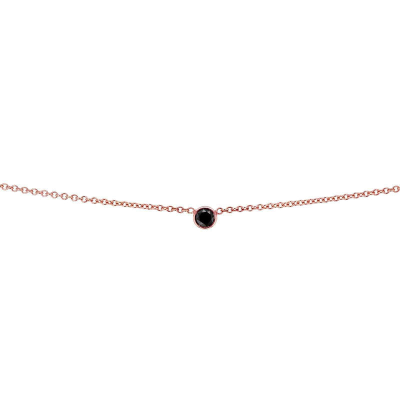 Kobelli Black Diamond Bezel Necklace 1/6 Carat, 14k Rose Gold, Adjustable 13 14 15 Inch 62464RBK-R