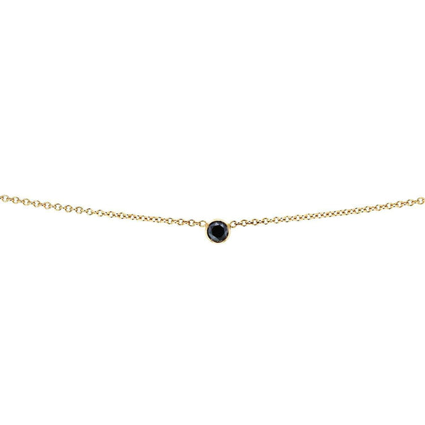 Kobelli Black Diamond Bezel Necklace 1/6 Carat, 14k Yellow Gold, Adjustable 13 14 15 Inch 62464RBK-Y