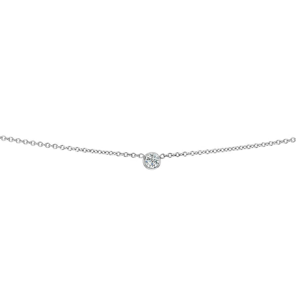 Kobelli White Diamond Bezel Necklace 1/6 Carat, 14k White Gold, Adjustable 13 14 15 Inch 62464R