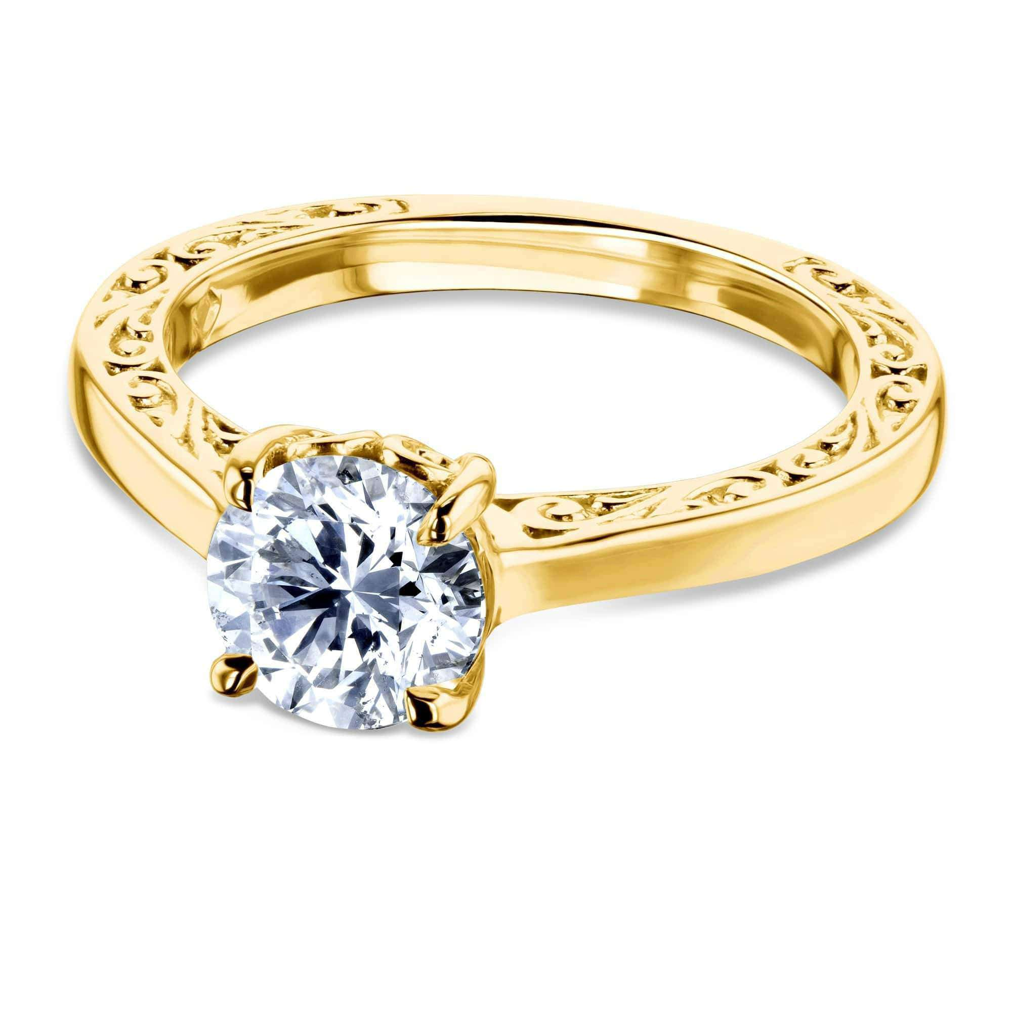 Discounts 1ct Diamond Solitaire Filigree Engraved Ring - yellow-gold 6