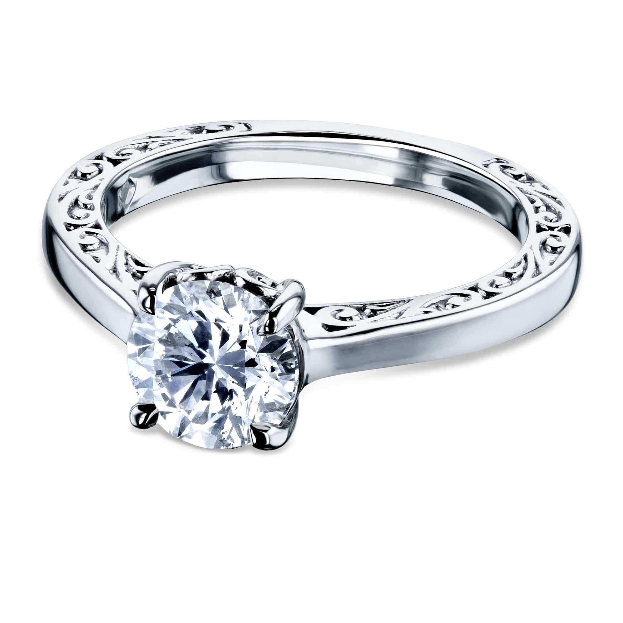 Discounts 1ct Diamond Solitaire Filigree Engraved Ring - white-gold 10