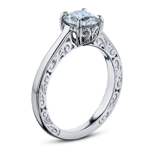 Kobelli 1ct Diamond Solitaire Filigree Engraved Ring