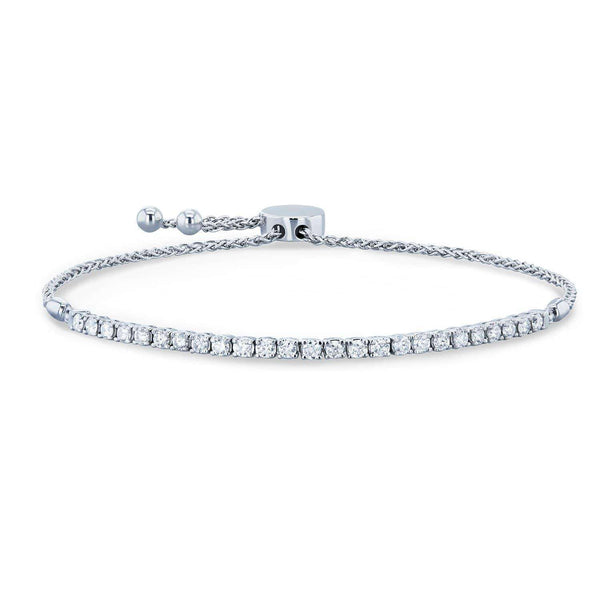 "Kobelli Diamond Bolo Strand Bracelet 1 CTW 14k White Gold, Fully Adjustable Length, 9.75"" Extended 62477-W"