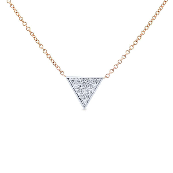 Kobelli White Gold Triangle Diamond Necklace Rose Gold Chain 62481-WR