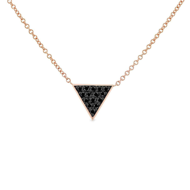 Kobelli Triangle Black Diamond Necklace 14k Rose Gold 62481BK-RR