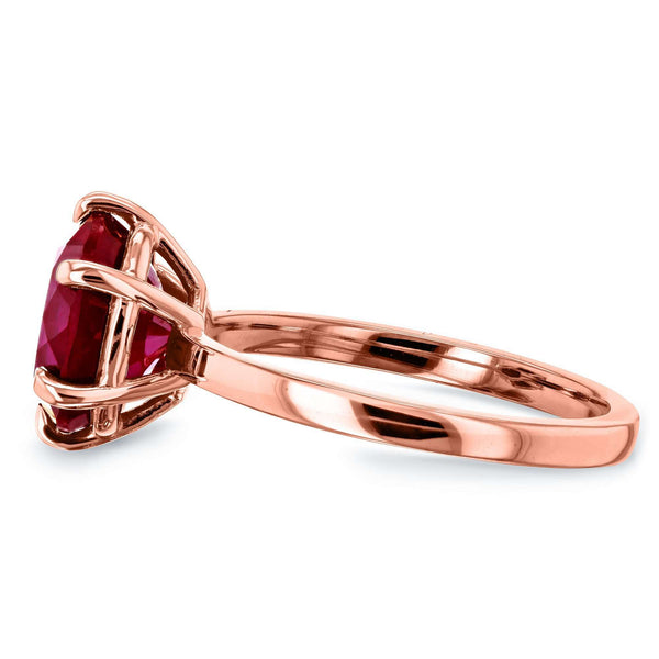 Created Red Ruby 6-Prong Solitaire Ring 5 1/2 Carats 14k Gold