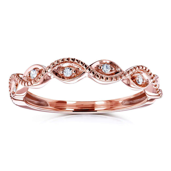 Kobelli Accent Diamond Stackable Braided Fashion Ring in 10k Rose Gold