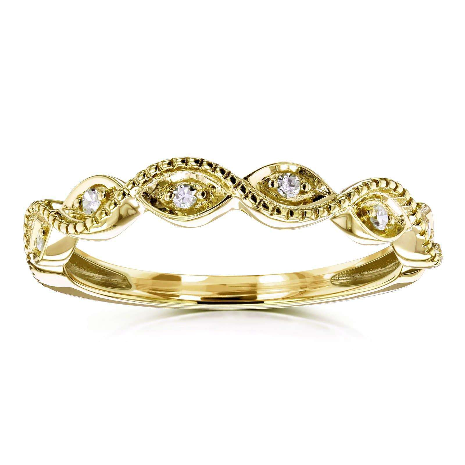 Top Accent Diamond Stackable Braided Fashion Ring in 10k Yellow Gold - 8.5