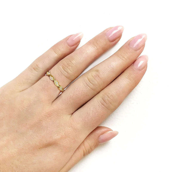 Kobelli Accent Diamond Stackable Braided Fashion Ring in 10k Yellow Gold