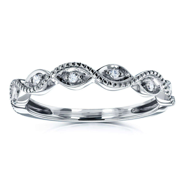 Kobelli Accent Diamond Stackable Braided Fashion Ring in 10k White Gold