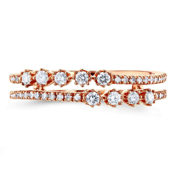 Kobelli Diamond Two Row Fashion Band 1/4 CTW 10k Rose Gold