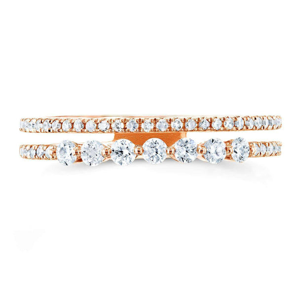 Kobelli Diamond Two-Row Parallel Band Fashion Ring 1/4 CTW 10k Rose Gold