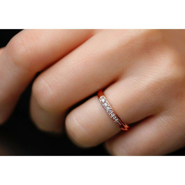 Kobelli White Diamond Dash Ring 10k Rose Gold 62501D/7R