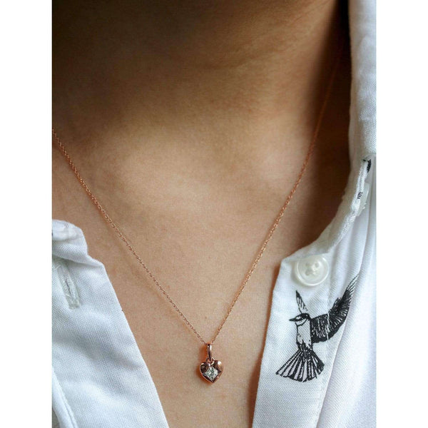 Kobelli Solitaire Embedded Diamond Heart Necklace 10k Rose Gold 62503-R