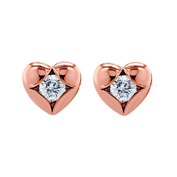 Kobelli Solitaire Heart Diamond Earrings 10k Rose Gold 62504-R