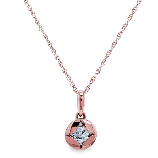 Kobelli Solitaire Embedded Diamond Star Necklace 10k Rose Gold 62505-R/R
