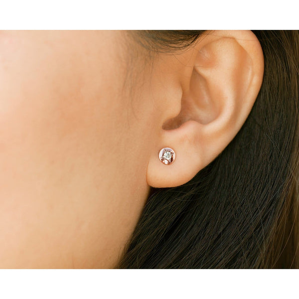 Kobelli Channel Embedded Diamond Stud Earrings 10k Rose Gold 62506-R