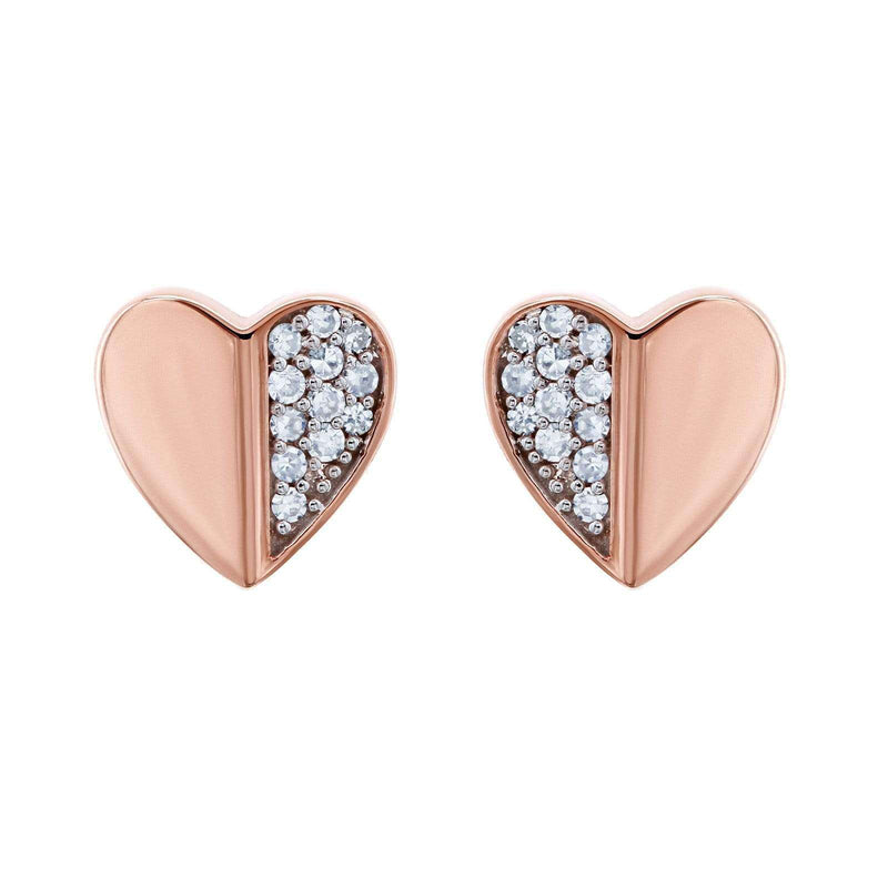 Kobelli Heart Diamond Earrings 10k Rose Gold 62507-R