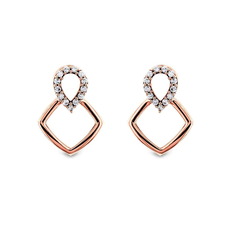 Kobelli White or Rose Gold Geometric Diamond Earrings