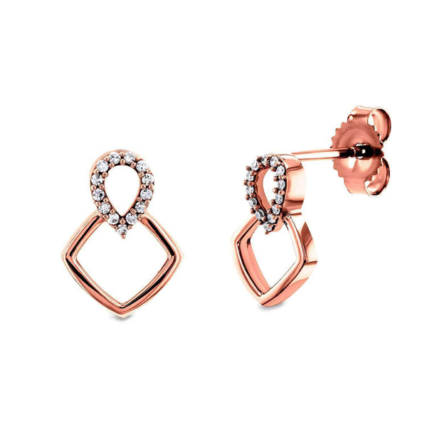 Kobelli White or Rose Gold Geometric Diamond Earrings 62509/R
