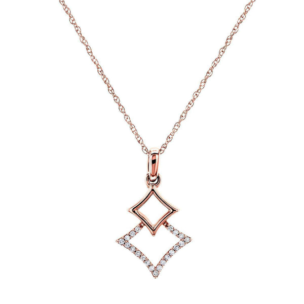 Kobelli Rhombus Geometric Diamond Necklace 10k Rose Gold, 18 Inch 62510-R