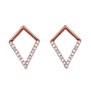 White or Rose Gold Geometric Kite Diamond Earrings