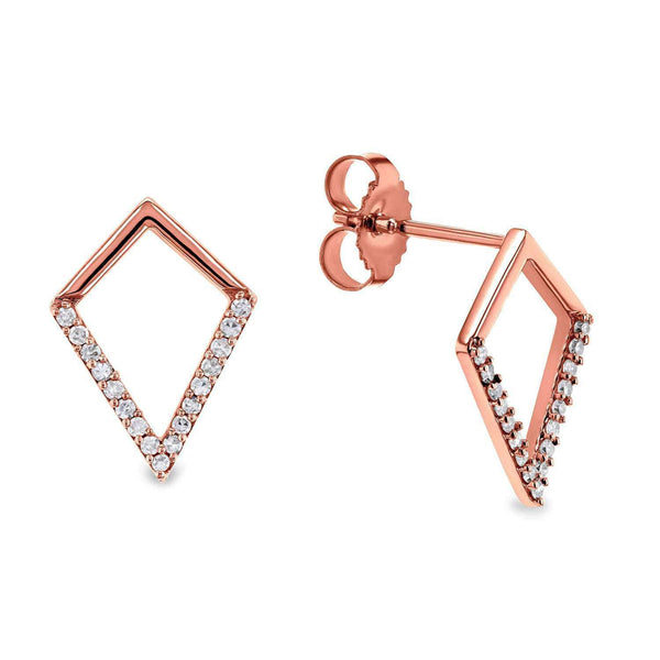 Kobelli White or Rose Gold Geometric Kite Diamond Earrings 62512/R