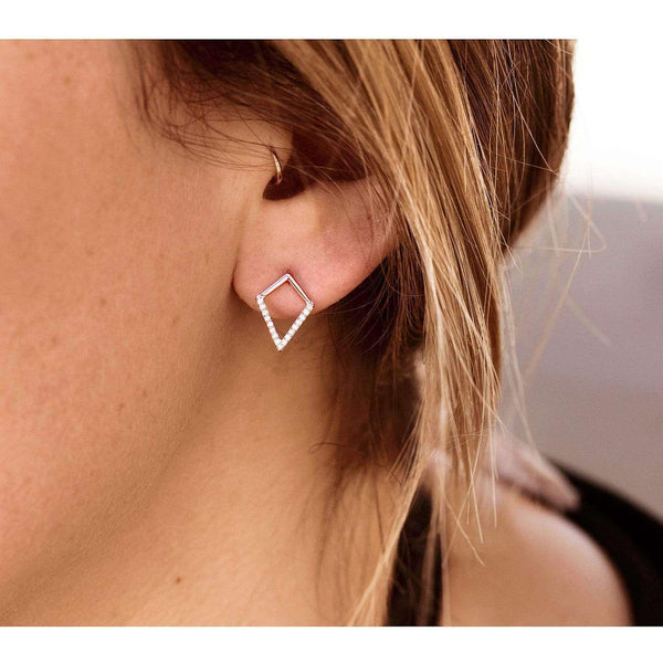 Kobelli White or Rose Gold Geometric Kite Diamond Earrings