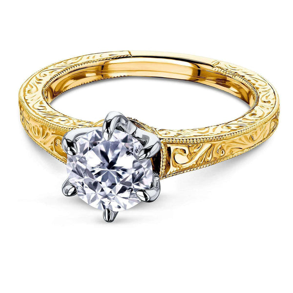 Kobelli Vintage 6-Prong 1 Carat Solitaire Diamond Ring - Multiple Gold Options