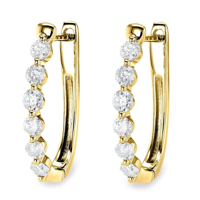 Kobelli Oval Hinged Diamond Hoop Earrings 10k Gold