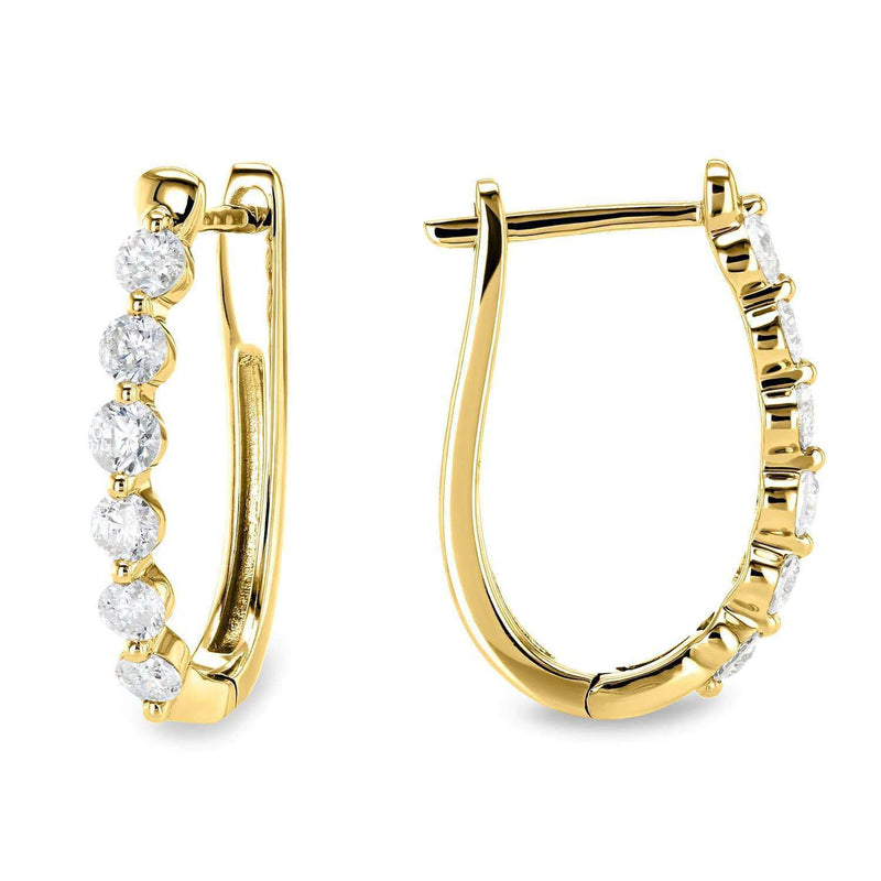Kobelli Oval Hinged Diamond Hoop Earrings 10k Gold 62524/Y
