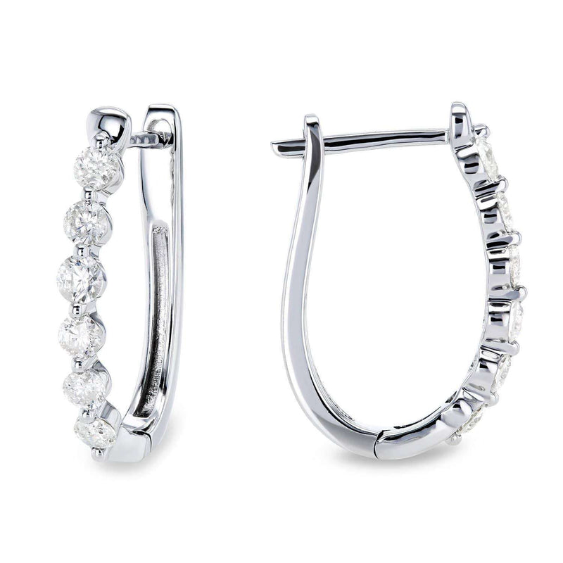 Kobelli Oval Hinged Diamond Hoop Earrings 10k Gold 62524/W