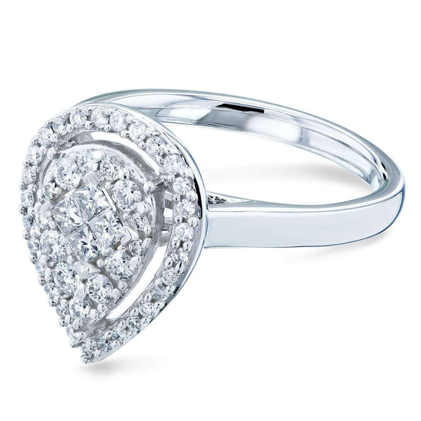 Kobelli Cluster Pear Halo Diamond Ring 10k White Gold