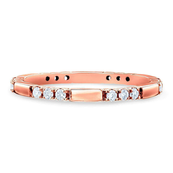 Kobelli Tri-stone Pattern Diamond Band 10k Rose Gold