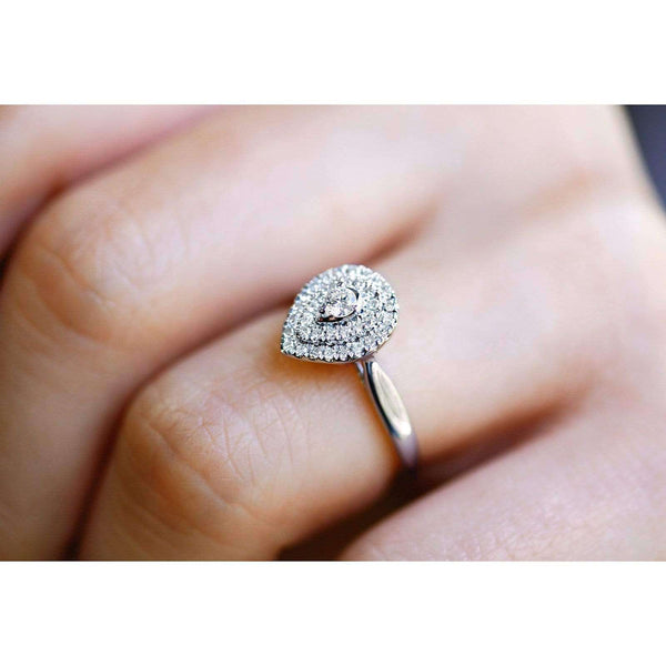 Kobelli Pear Double Halo Diamond Ring 14k White Gold