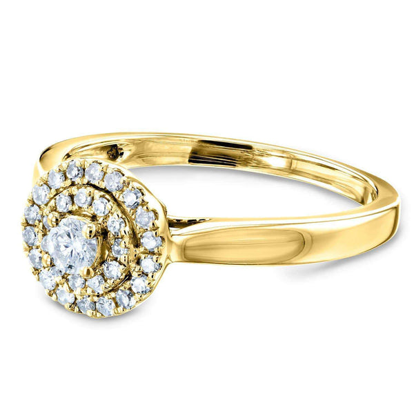 Kobelli Round Cluster Double Halo Taper Shank Diamond Ring 1/5 Carat TW 14k Yellow Gold